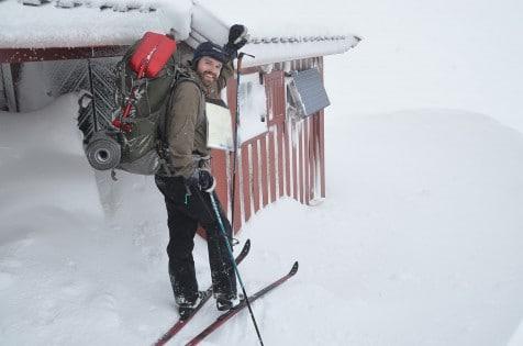 Vel fremme ved Gaukhei etter syv timer på ski