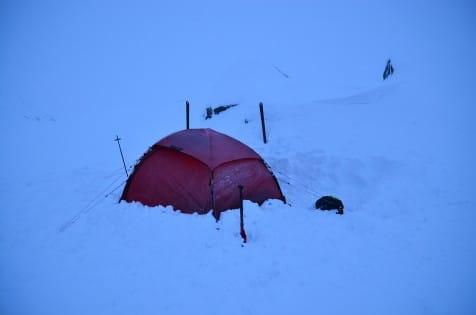 Lille runde røde i vinterlige omgivelser